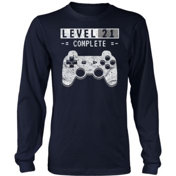 Men's Level 21 Complete Long Sleeve T-Shirt - 21st Video Gamer Birthday Gift