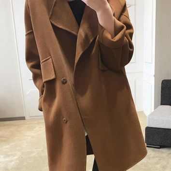 New Coffee Pockets Turndown Collar Long Sleeve Elegant Coat