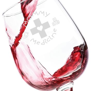 Mommy Medicine Funny Wine Glass 13 oz - Best Birthday Gifts For Mom - Unique Gift For Her - Novelty Christmas Present Idea For Mother from Son or Daughter - For Women, Bride, New Wife, Sister
