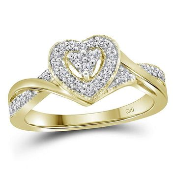 10kt Yellow Gold Women's Round Diamond Heart Love Ring 1/4 Cttw - FREE Shipping (US/CAN)