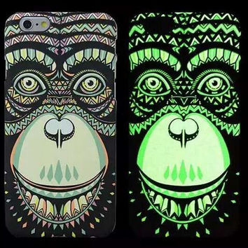 So Cool Night King Chimpanzee King Kong Animal Handmade Carving Luminous Light Up iPhone creative cases for 5S 6 6S Plus Free Shipping