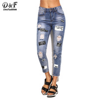 Dot Blue Ripped Letter Print Skinny Ankle Pants Women Trouser Mid Waist Cropped Button Fly Jeans