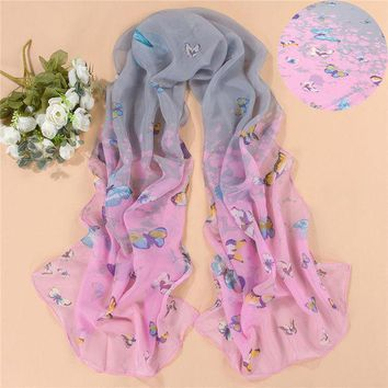 New Design 2016 Chiffon Butterfly Flower Print Scarf Women Artificial Silk Long Shawls And Scarves