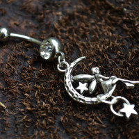 fairy on moon charm belly ring stars  in fantasy boho gypsy hippie belly dancer and hipster style