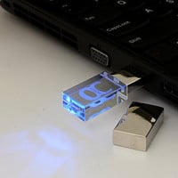 ONCHOICE USB Flash Drive 16GB USB 2.0 Memory Stick LED Waterproof Thumb Drive Crystal Transparent & Blue
