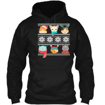 Cute Cat Meow Face Ugly Sweater Christmas Kitten Gift Tee Pullover Hoodie 8 oz
