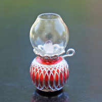 Dollhouse Miniature Glass Hurricane Oil Lamp Red and Silver