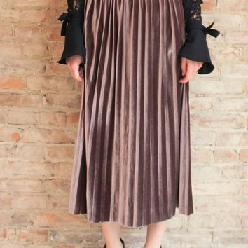 Glimmers Pleated Velvet Midi Skirt