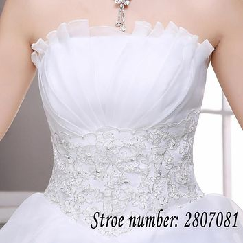 Vestidos De Novia Free shipping Summer Wedding dresses Lace Up Wedding Ball Gowns Sleeveless Frock Plus Size Bridal Dress DL003