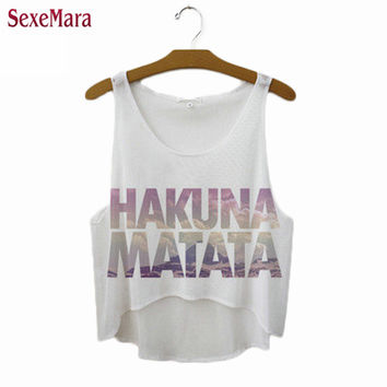 "SexeMara New ""Hakuna Matata"" Letters Crop Tops Fitness Women Sexy T-shirt Summer Style Vest Sleeveless Cropped Tank Top F1037"