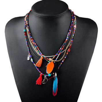 Feather & Beads Necklace