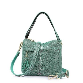 Double Zipper Hobos Serpentine Print Bag