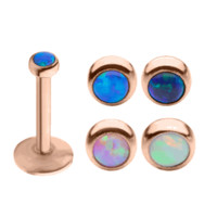 16ga Labret Monroe Cartilage Stud - Internally Threaded Rose Gold I.P w/Opal Top