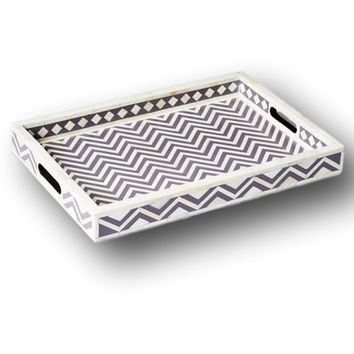 Bone Inlay Furniture - Dark Grey Striped Chevron Modern Decorative Tray | Free Shipping