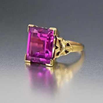 Retro 7.1 ct Pink Sapphire Art Deco Gold Ring