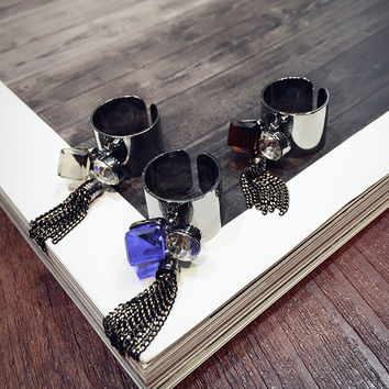 Jewelry New Arrival Shiny Stylish Gift Korean Black Chain Tassels Crystal Rhinestone Ring [6586143879]