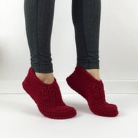 Women's Crochet Red Slippers, Knitted Slippers, Crochet House Shoes, Ladies Slippers, Simple Knit Slippers, Plain Red Crochet Ankle Booties
