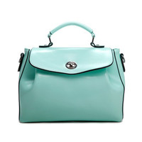 Retro Style Teal Faux Leather Tote. Causal Chic Mint Leather Satchel. Summer Weekend Bag. MADE-TO-ORDER