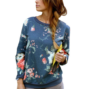 Blue Flower Printed Sweatshirts