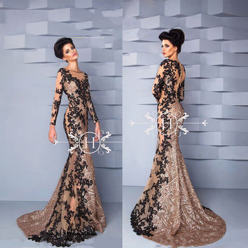 Custom Made Long Sleeve Lace Applique Zuhair Murad Evening Dresses with Train for Formal Evening Party 2016(YASA-1084)