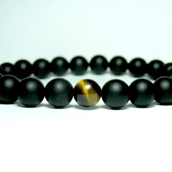 Beaded Stretch Bracelet, Onyx Stretch Bracelet, Tiger Eye Stretch Bracelet, Beaded Bracelet