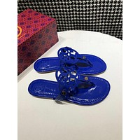 Tory Burch blue Women Patent Leather Flip Flops Thong TB Flats Sandals, Female Designer Rubber Sole Miller Loafers Girls Ladies Slippers