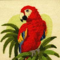Vintage Embroidered Art, Tropical Macaw Parrot Needlework Wall Art, Tiki Bar, Mid Century Decor Framed Art