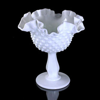 Fenton Compote, Hobnail, Milk Glass, Double Crimped, Pedestal