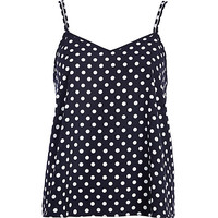 River Island Womens Navy polka dot V neck cami top