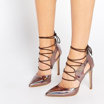 Daisy Street Oil Slick Pointed Toe Ghillie Heeled Shoes