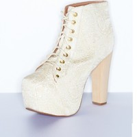 Cold Feet by Jeffrey Campbell 'Lita Brocade', Ivory - Ashbury Skies