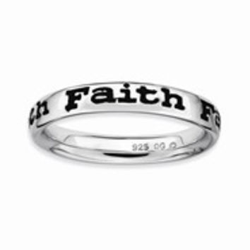 Sterling Silver Polished Enameled Faith Ring