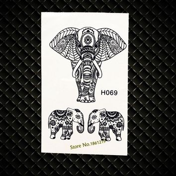 High Quality Black Elephant Waterproof Fake Tattoo Stickers Henna Temporary Tattoos GH069 Removable Mehndi Indian Tattoo Sticker