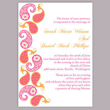 DIY Bollywood Wedding Invitation Template Editable Word File Download Printable Orange Pink Invitation Indian Invitation Bollywood party