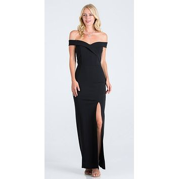 Black Off-the-Shoulder Long Formal Dress with Slit