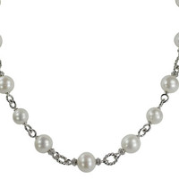 "18"" Sterling Silver 10-12mm Freshwater Pearl Station Necklace"