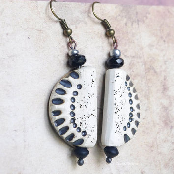 Earthy Primitive Natural ceramic earring , Rustic jewelry , Ethnic earrings