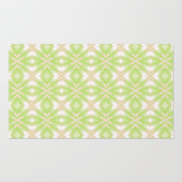 Peach And Green Abstract Print  Rug by KCavender Designs
