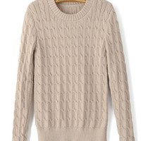 Cream Knitted Casual Sweater