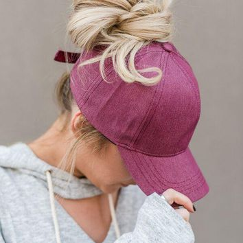 Messy Bun Baseball Cap - Magenta Chambray