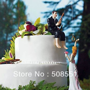 CREYUG3 Fishing With Love Wedding Cake Toppers Couple Decoration = 1929438532