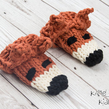 Fox Baby Mittens - Hand Knitted Baby Gloves, Cotton Baby Fox Gloves 6 Months - 12 Months, Handmade Foxy Scratch Mitts, Fox Baby Clothes