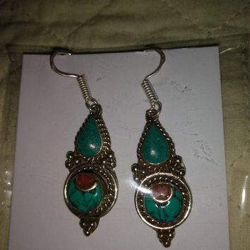 Red Coral & Turquoise Earrings - .925 Sterling Silver - In USA