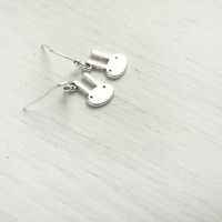 Cute Miniature Bunny  - Sterling Silver Dangle Earrings - Tiny, Minimalist Earrings,simple, everyday jewelry