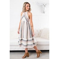 Retro Vibes Striped Dress (Natural)