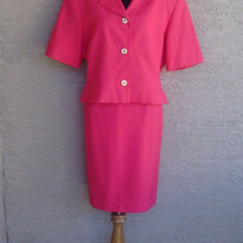 Pink suit - Oleg Cassini size 14 - gold Paris Couture buttons - pencil skirt- early 80s - short sleeve suit dress - classic feminine