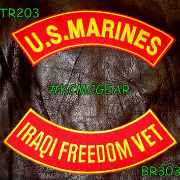 U.S. Marines Iraqi Freedom Vet Embroidered Military Patch Set Sew on Patches for Jackets
