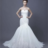 A-line strapless v-neck lace tulle 2013 Wedding Dresses EWD080