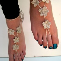 Silver Barefoot Sandals, barefoot sandles, Crocheted Anklet, Foot Jewelry, Beach Wedding, Bride accessory
