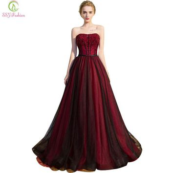 Retro Colorful Evening Dress the Bride Banquet Luxury Burgundy Strapless Sleeveless A-line Beading Party Prom Dresses